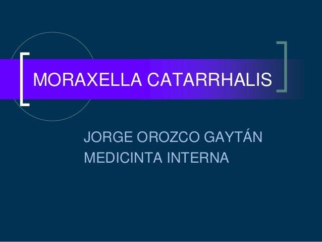 JORGE OROZCO GAYTÁN MEDICINTA INTERNA MORAXELLA CATARRHALIS