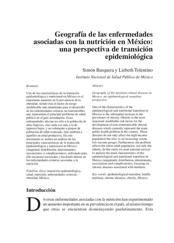 Geografía de las enfermedades      asociadas con la nutrición en México:              una perspectiva de transición       ...