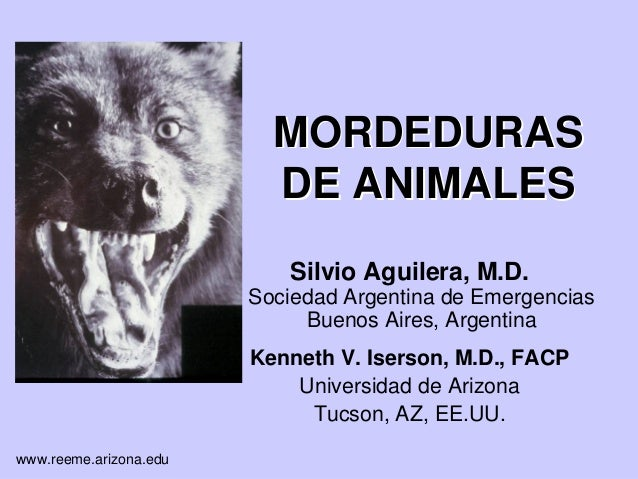 www.reeme.arizona.eduMORDEDURASMORDEDURASDE ANIMALESDE ANIMALESSilvio Aguilera, M.D.Sociedad Argentina de EmergenciasBueno...