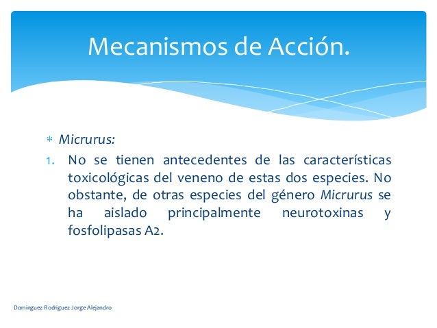 Mecanismos de Acción.             Micrurus:           1. No se tienen antecedentes de las características              tox...