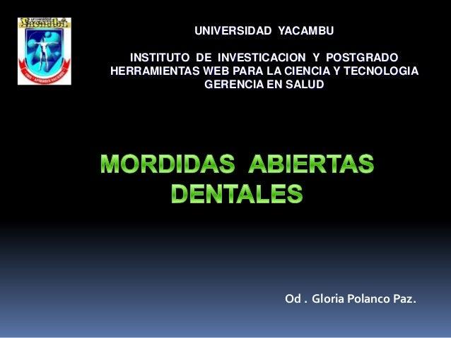 UNIVERSIDAD YACAMBU   INSTITUTO DE INVESTICACION Y POSTGRADOHERRAMIENTAS WEB PARA LA CIENCIA Y TECNOLOGIA              GER...