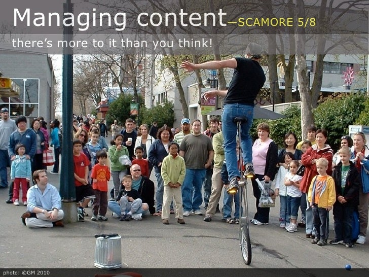 Managing content—SCAMORE 5/8   there's more to it than you think!     photo: ©GM 2010