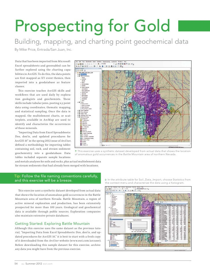 Prospecting for GoldBuilding, mapping, and charting point geochemical dataBy Mike Price, Entrada/San Juan, Inc.Data that h...