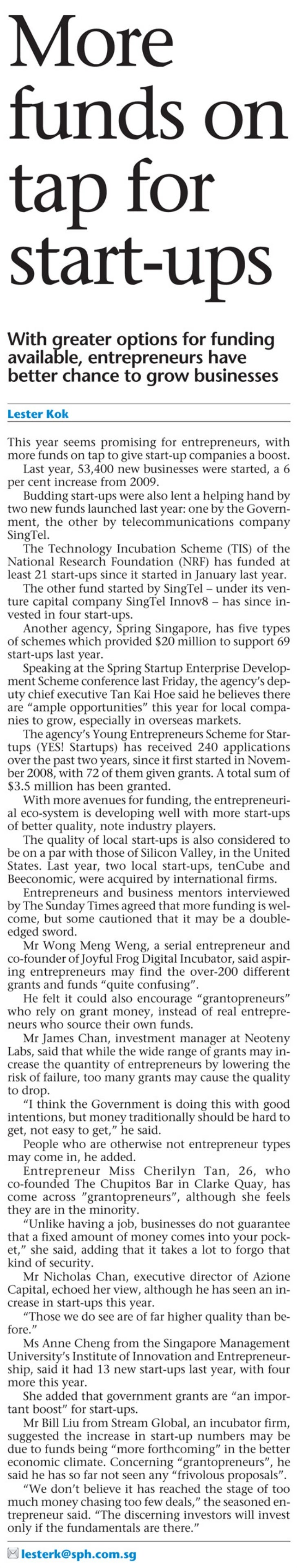 More funds on tap for start-ups