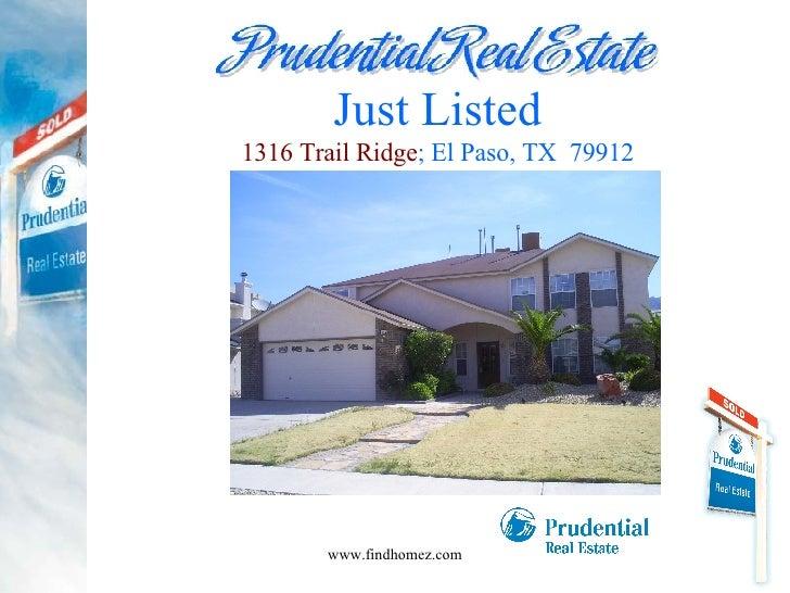 Just Listed 1316 Trail Ridge ; El Paso, TX  79912