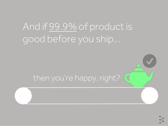 And if 99.9% of product is good before you ship… then you're happy, right?