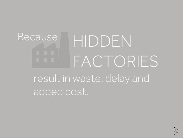 result in waste, delay and added cost. HIDDEN FACTORIES Because