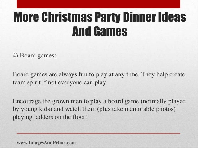 more christmas party dinner ideas and games