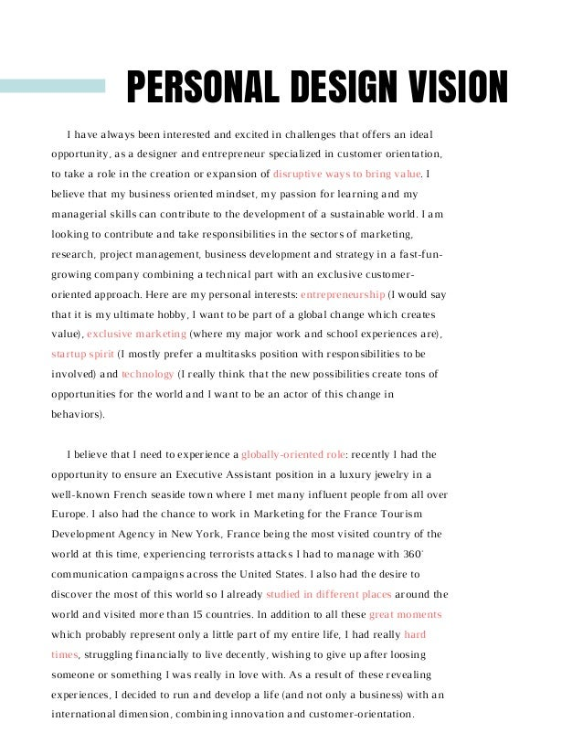 Personal passions essay