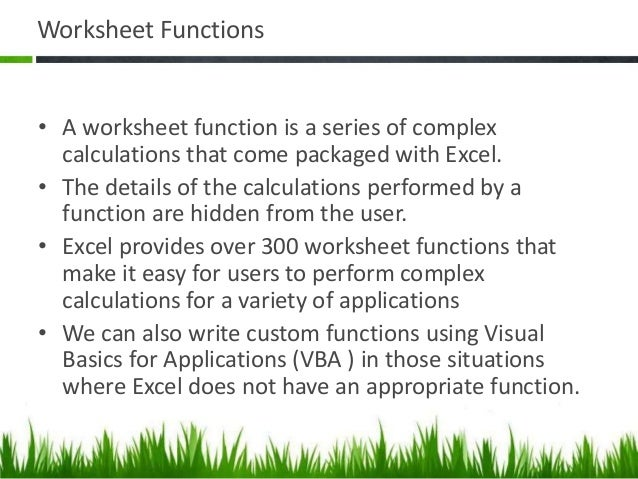 Intro to Excel Basics Part II – Excel Worksheet Function