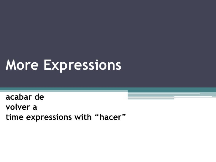 """More Expressions<br />acabar de  volver a time expressions with """"hacer""""<br />"""