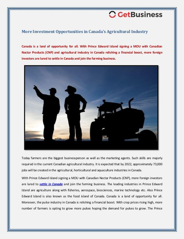 More Investment Opportunities in Canada's Agricultural Industry