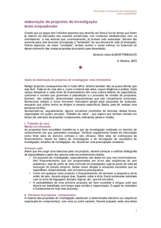 elaboração de projectos de investigação                                                                               text...