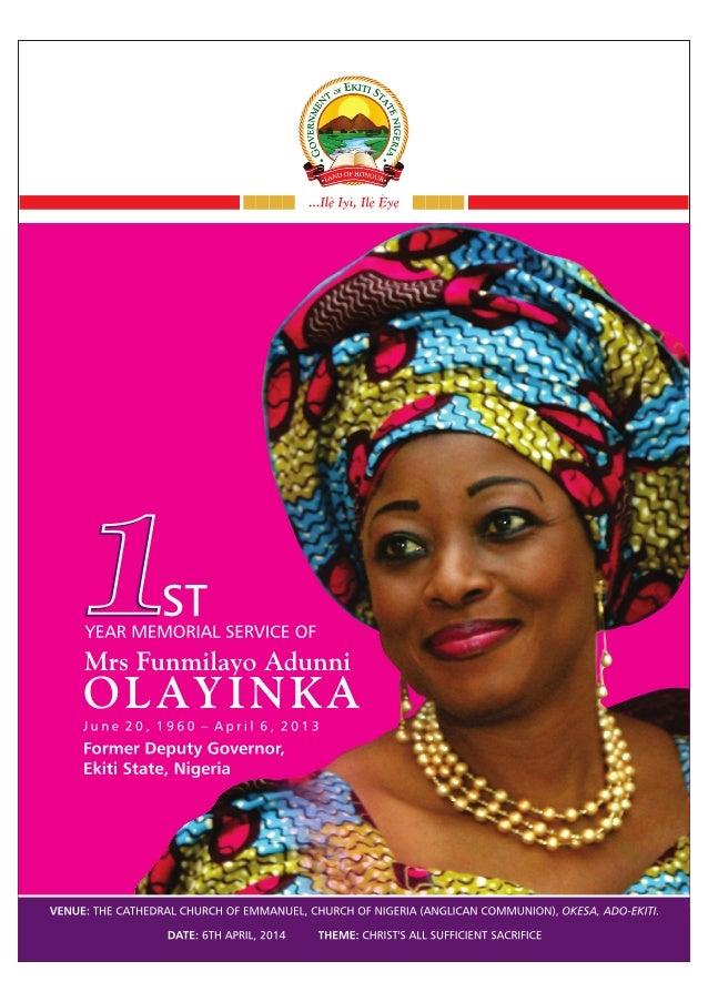 1st Year Memorial Service of Mrs Funmilayo Adunni OLAYINKA