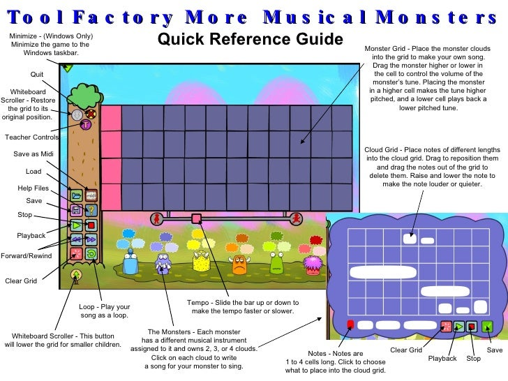 Tool Factory More Musical Monsters Quick Reference Guide Minimize - (Windows Only) Minimize the game to the  Windows taskb...