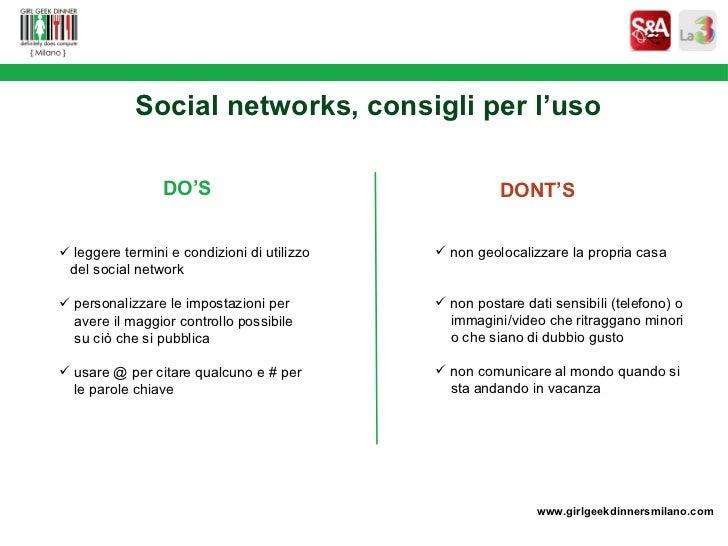 <ul><li>leggere termini e condizioni di utilizzo  </li></ul><ul><li>del social network  </li></ul><ul><li>personalizzare l...