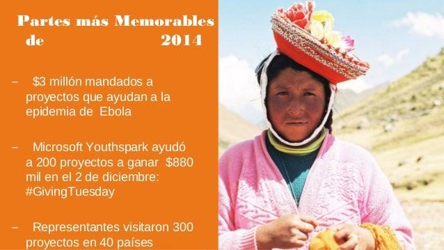 Partes más Memorables de 2014 – $3 millón mandados a proyectos que ayudan a la epidemia de Ebola – Microsoft Youthspark ay...