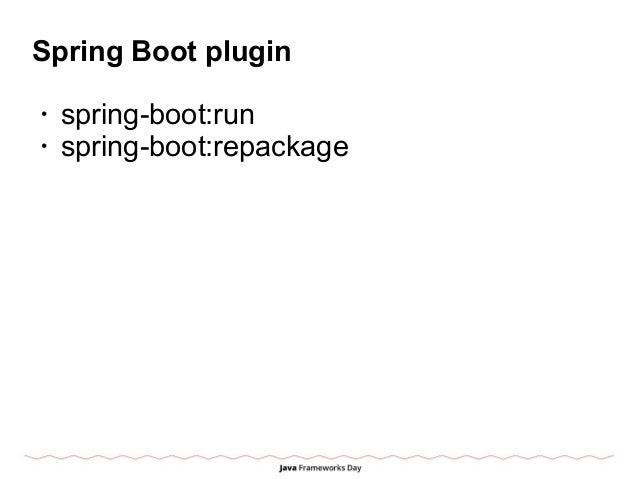 Spring Boot plugin • spring-boot:run • spring-boot:repackage