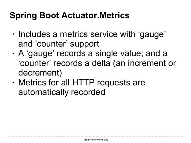 Spring Boot Actuator.Metrics • Includes a metrics service with 'gauge' and 'counter' support • A 'gauge' records a single ...