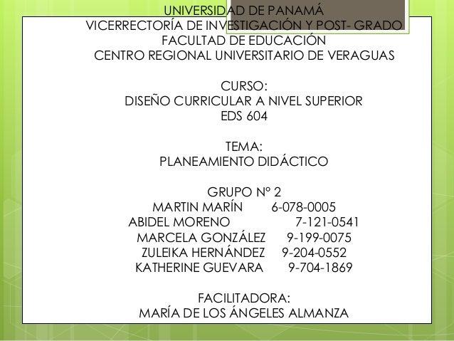 UNIVERSIDAD DE PANAMÁ VICERRECTORÍA DE INVESTIGACIÓN Y POST- GRADO FACULTAD DE EDUCACIÓN CENTRO REGIONAL UNIVERSITARIO DE ...