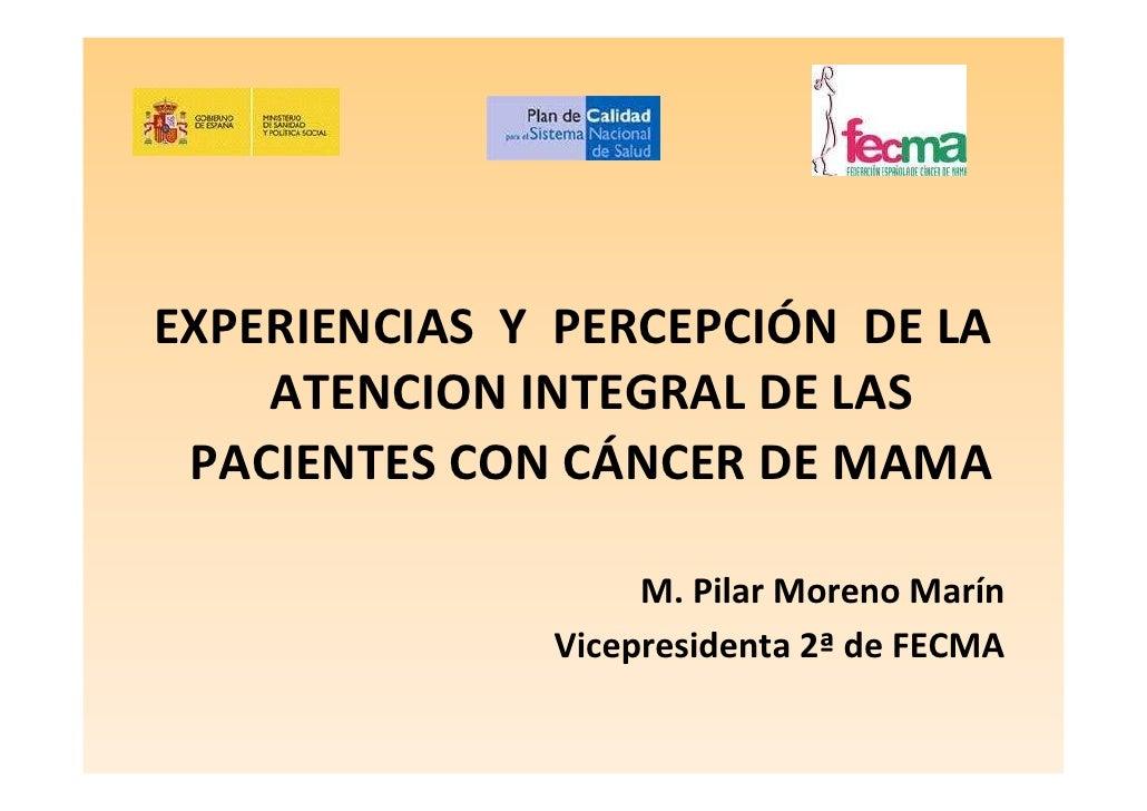 EXPERIENCIAS Y PERCEPCIÓN DE LA     ATENCION INTEGRAL DE LAS  PACIENTES CON CÁNCER DE MAMA                     M. Pilar Mo...