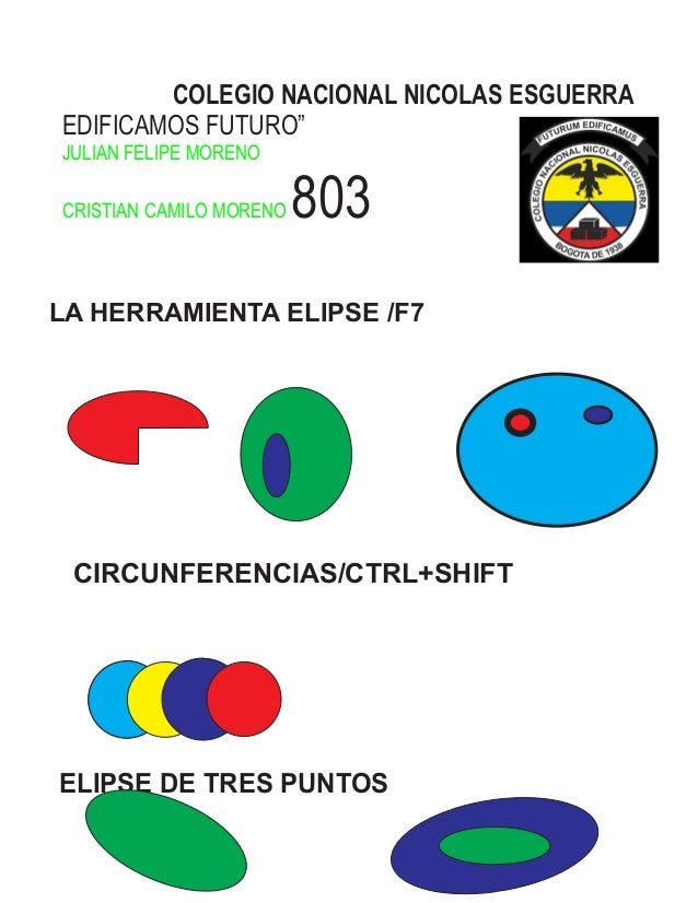 "COLEGIO NACIONAL NICOLAS ESGUERRA EDIFICAMOS FUTURO"" 803 JULIAN FELIPE MORENO CRISTIAN CAMILO MORENO LA HERRAMIENTA ELIPSE..."