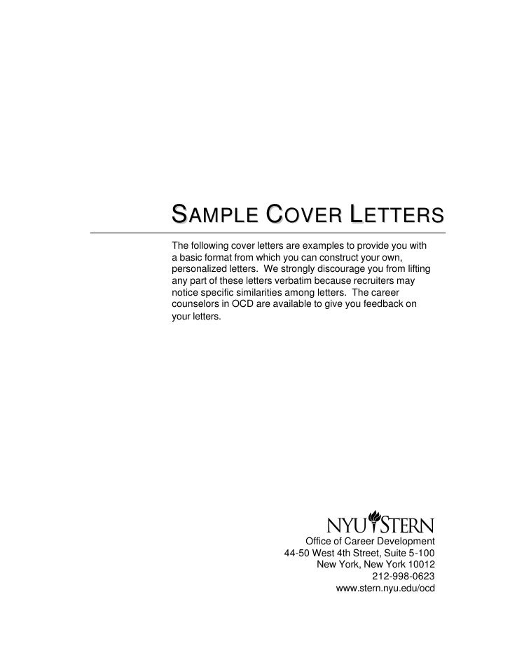 The Example Of Cover Letter – Sample Cover Letters