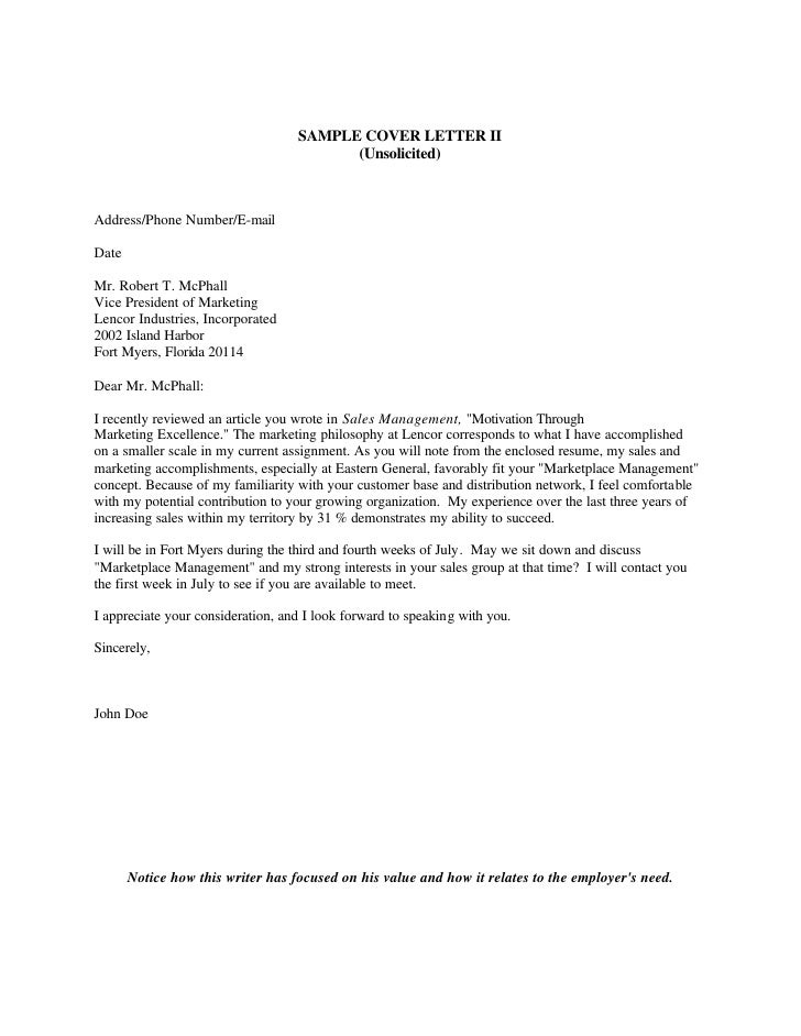 Unsolicited Job Application Letter To A Company