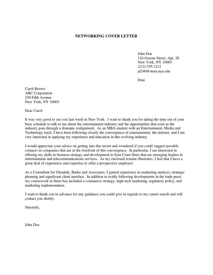 Very Truly Yours, John Doe; 5. NETWORKING COVER LETTER ...