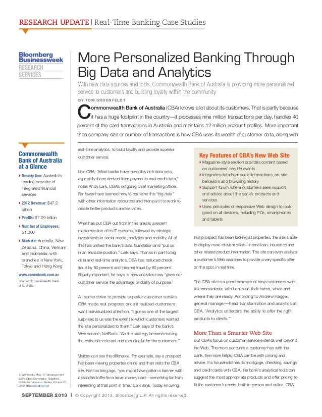 RESEARCH UPDATE | Real-Time Banking Case Studies  More Personalized Banking Through Big Data and Analytics With new data s...