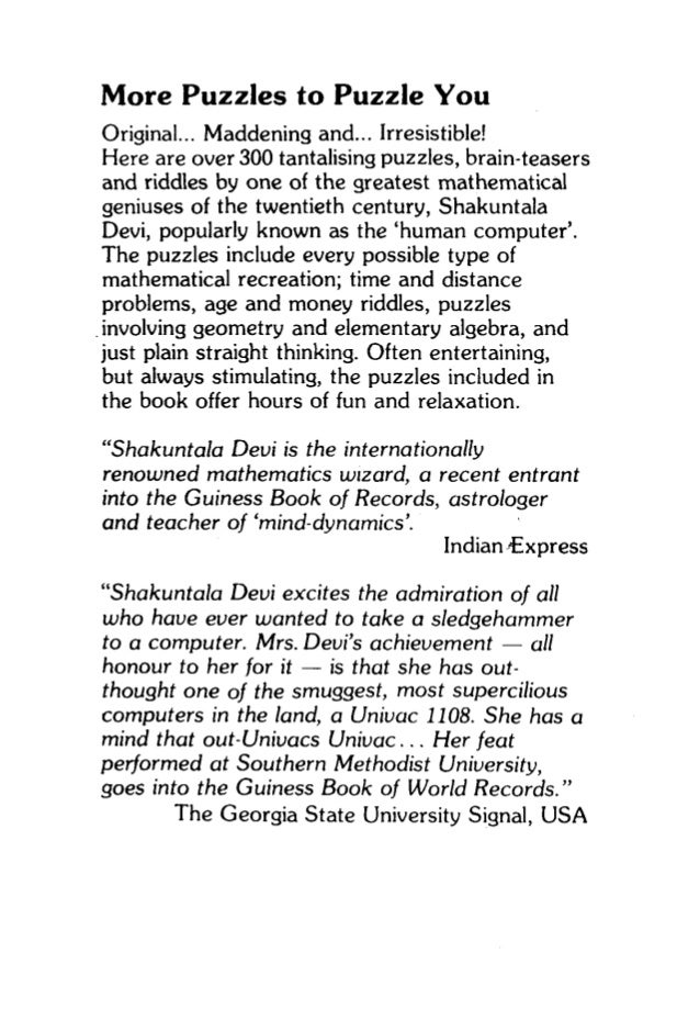 Figuring the joy of numbers by shakuntala devi
