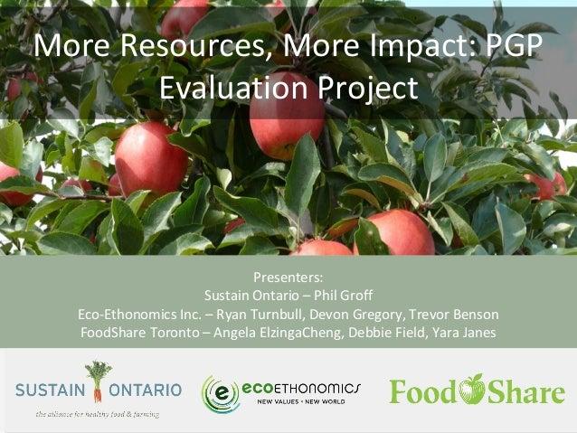 More Resources, More Impact: PGP Evaluation Project Presenters: Sustain Ontario – Phil Groff Eco-Ethonomics Inc. – Ryan Tu...