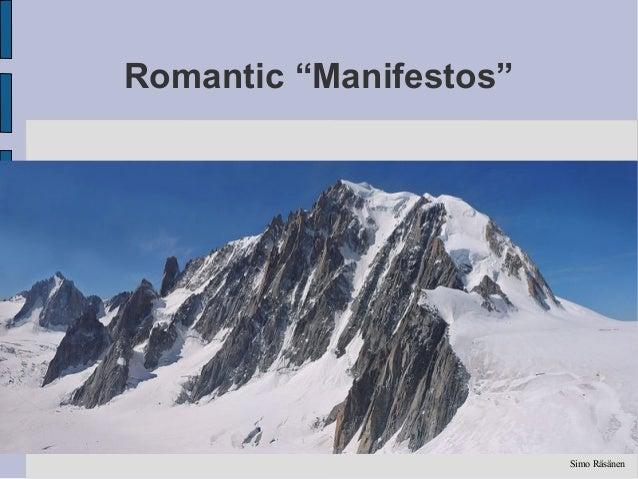"Romantic ""Manifestos""                        Simo Räsänen"