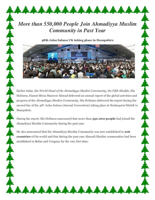 More than 550,000 People Join Ahmadiyya Muslim Community in Past Year 48th Jalsa Salana UK taking place in Hampshire Earli...