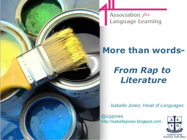 Powerpoint Templates Page 1 Powerpoint Templates More than words- From Rap to Literature Isabelle Jones, Head of Languages...
