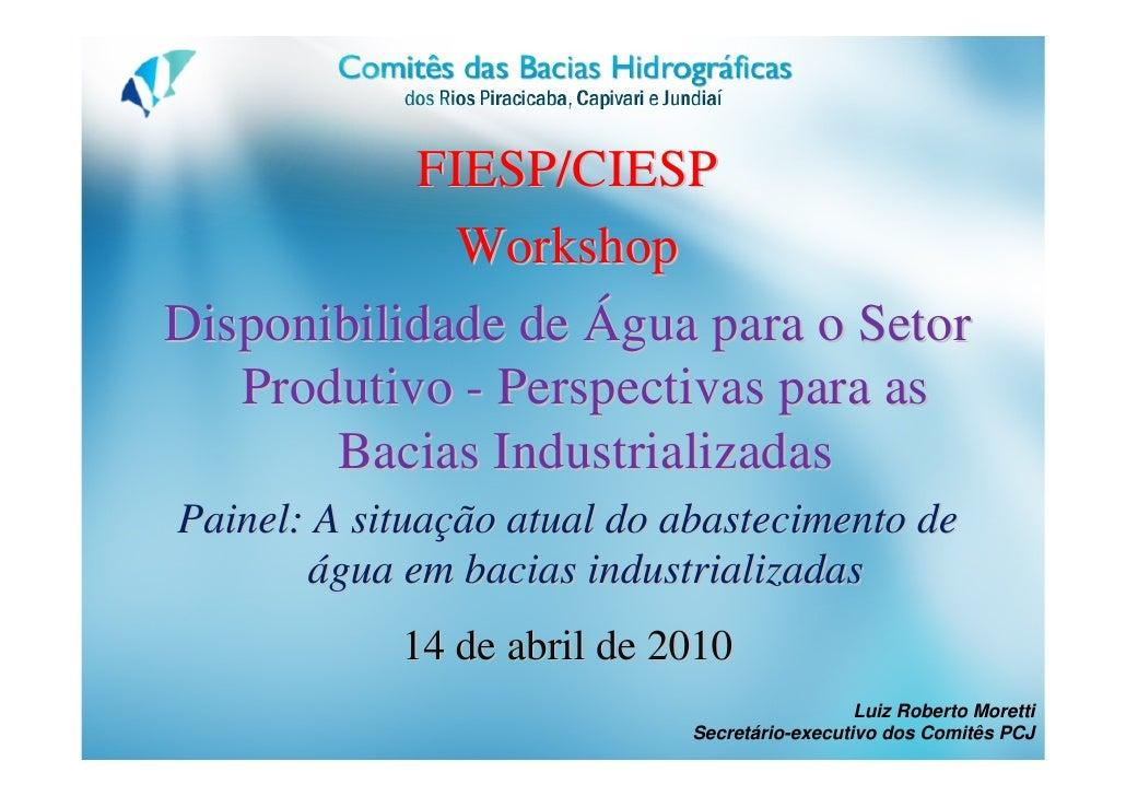 FIESP/CIESP              Workshop Disponibilidade de Água para o Setor    Produtivo - Perspectivas para as        Bacias I...