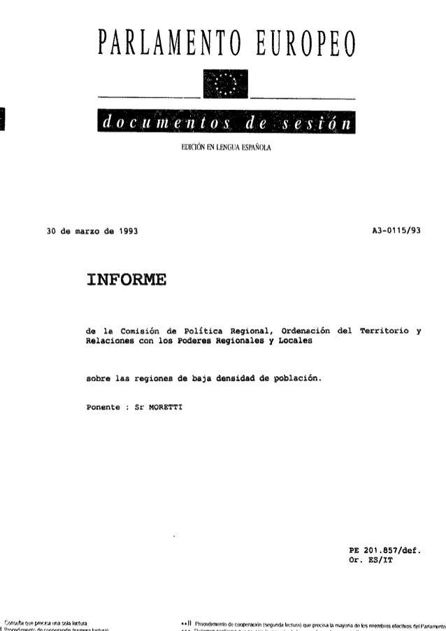 Informe Moretti. Regiones de baja densidad de población. 1993
