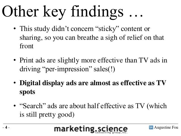 """Other key findings …      • This study didn't concern """"sticky"""" content or        sharing, so you can breathe a sigh of rel..."""