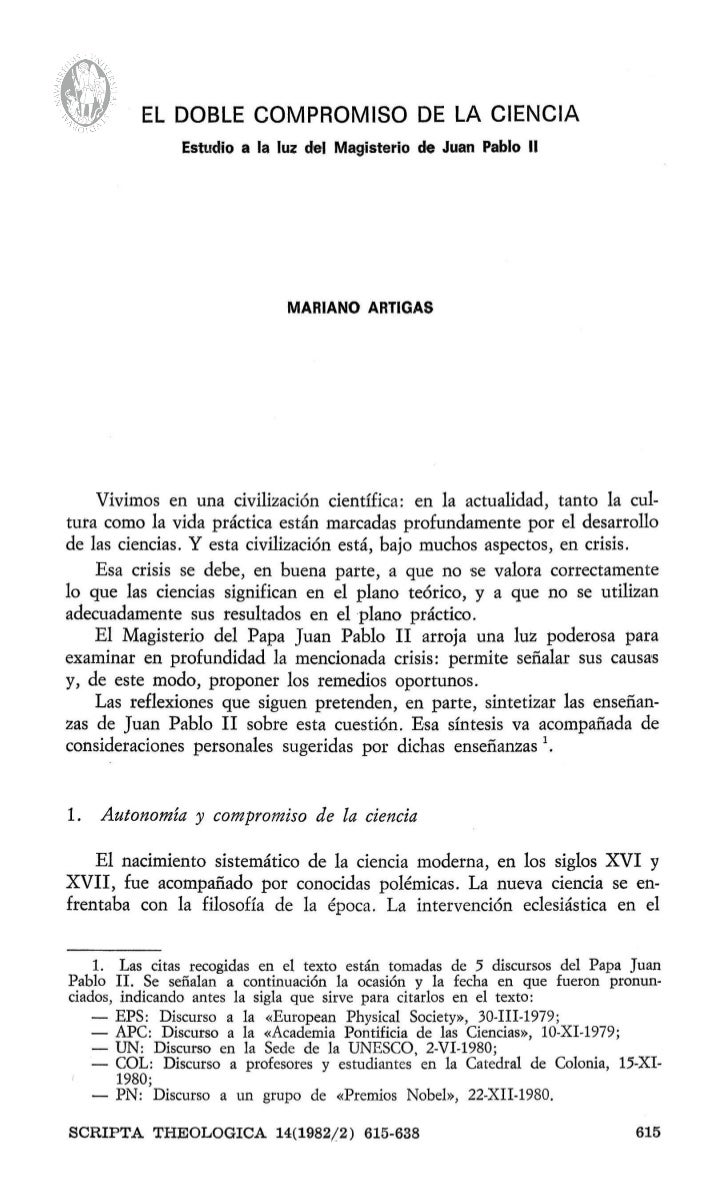 EL DOBLE COMPROMISO DE LA CIENCIA               Estudio a la luz del Magisterio de Juan Pablo II                          ...