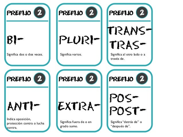 prefijo 2 bi- prefijo 2 pluri- prefijo 2 anti- prefijo 2 extra- prefijo 2 trans- prefijo 2 post- Significa dos o dos veces...