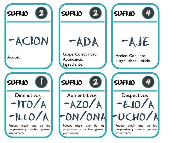 Puedes elegir uno de los propuestos y cambiar género y/o número. sufijo 2 -acion sufijo 2 -ada sufijo 1 -ito/a -illo/a suf...