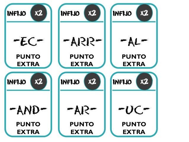 infijo -ec- infijo -arr- infijo -and- infijo -ar- infijo x2 infijo -uc- -al- PUNTO EXTRA PUNTO EXTRA PUNTO EXTRA PUNTO EXT...