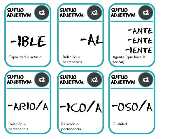 SUFIJO ADJETIVAL -IBLE -AL -ario/a -ico/a -oso/a -ante -ente -iente Capacidad o actitud. x2 SUFIJO ADJETIVAL SUFIJO ADJETI...