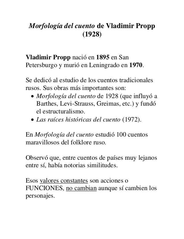 Vladimir propp morfologia del cuento
