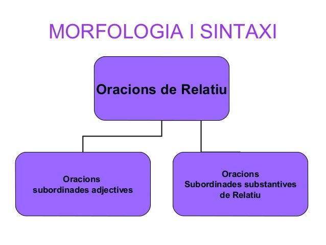 MORFOLOGIA I SINTAXI Oracions de Relatiu Oracions subordinades adjectives Oracions Subordinades substantives de Relatiu