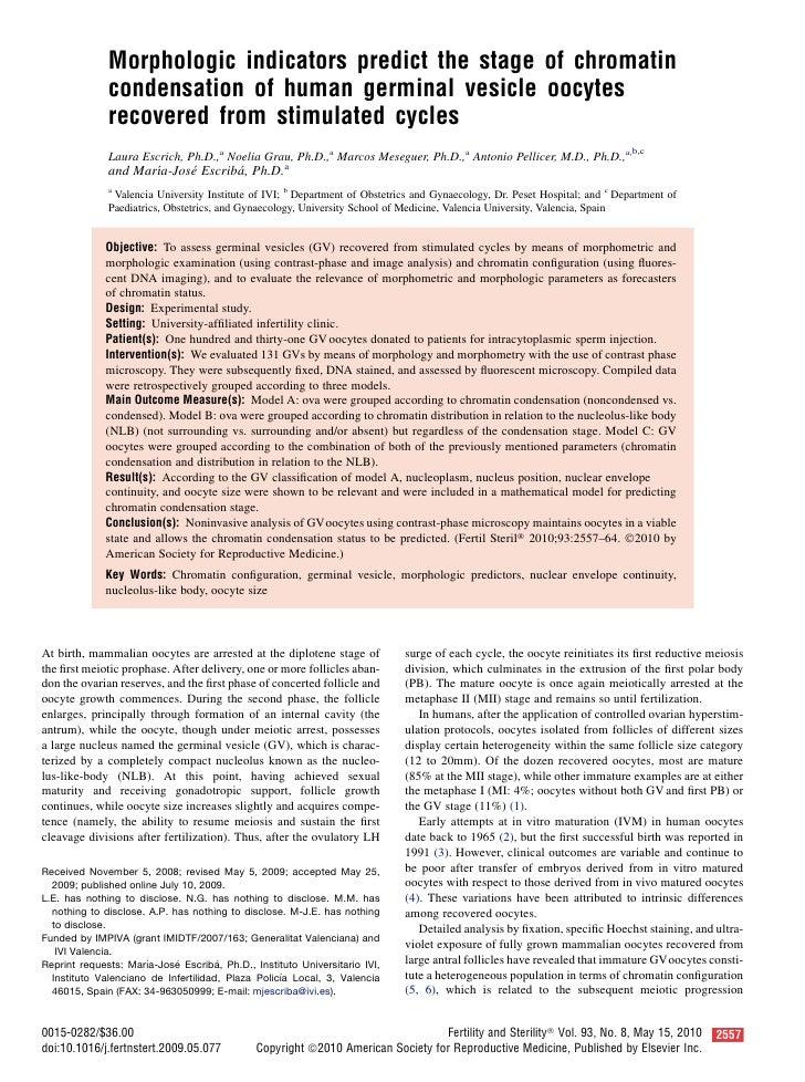 Morphologic indicators predict the stage of chromatin               condensation of human germinal vesicle oocytes        ...