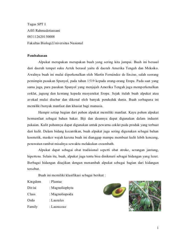 Tugas SPT IAfifi Rahmadetiassani083112620150008Fakultas Biologi,Universitas NasionalPembahasan         Alpukat merupakan m...