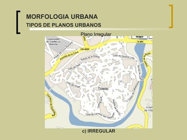 Plano Irregular c) IRREGULAR MORFOLOGIA URBANA TIPOS DE PLANOS URBANOS