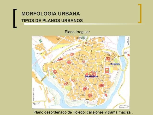 Plano desordenado de Toledo: callejones y trama maciza . Plano Irregular MORFOLOGIA URBANA TIPOS DE PLANOS URBANOS