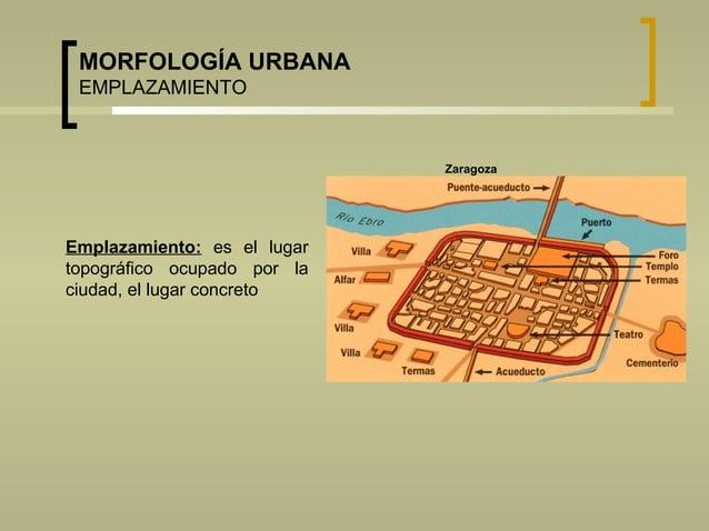 MORFOLOGÍA URBANA EMPLAZAMIENTO Emplazamiento: es el lugar topográfico ocupado por la ciudad, el lugar concreto Zaragoza